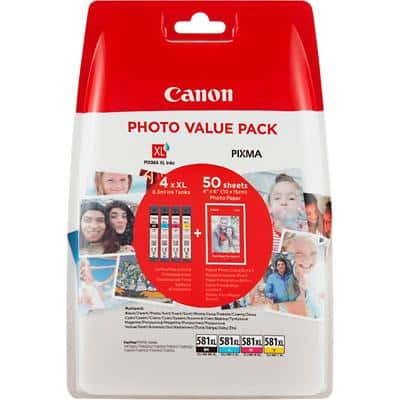 Canon CLI-581XL Original Ink Cartridge Black, Yellow, Cyan, Magenta Pack of 4