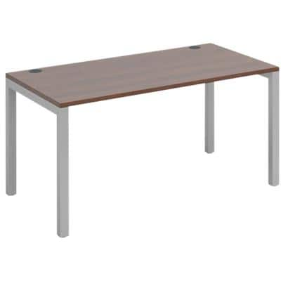Dams International Rectangular Starter Unit Single Desk with Walnut Melamine Top and Silver Frame 4 Legs Connex 1400 x 800 x 725mm