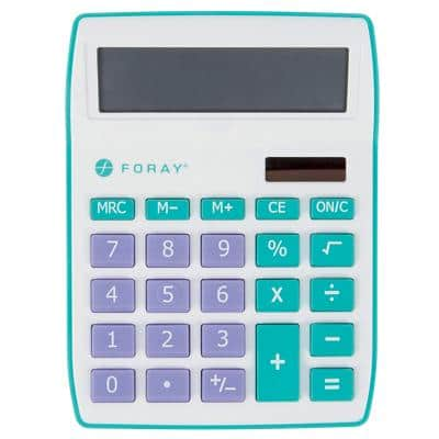 Foray Generation Desktop Calculator 10 Digit Display Teal, Purple