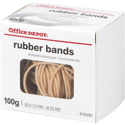 Office Depot Rubber Bands 1.5 x 80mm Ø 50mm Natural 100g