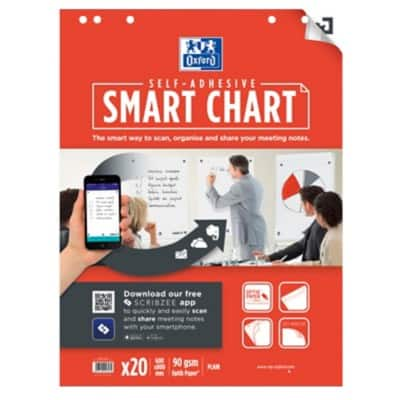 OXFORD Flipchart Block Smart Chart A1 White 90gsm 60 x 80 cm 3 Pieces of 20 Sheets