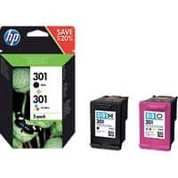 HP 301 Original Ink Cartridge N9J72AE Black, Cyan, Magenta, Yellow Pack of 2