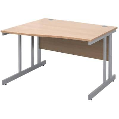 Freeform Left Hand Design Wave Desk with Beech Coloured MFC Top and Silver Frame Adjustable Legs Momento 1200 x 990 x 725 mm