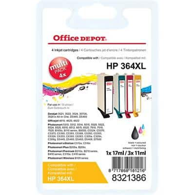 Office Depot Compatible HP 364XL Ink Cartridge N9J74AE Black & 3 Colours 4 Pieces