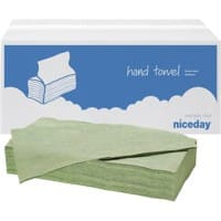 Niceday Hand Towels Green C-fold 1 Ply Paper 20 Sleeves of 182 Sheets