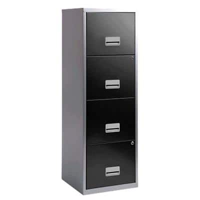 Pierre Henry Filing Cabinet with 4 Lockable Drawers Maxi 400 x 400 x 1250mm Silver & Black