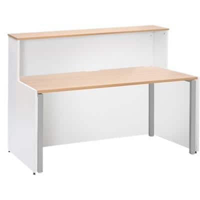 Dams International Rectangular Reception Desk with Beech Coloured Melamine Top and White Frame Adapt 1662 x 890 x 1125mm