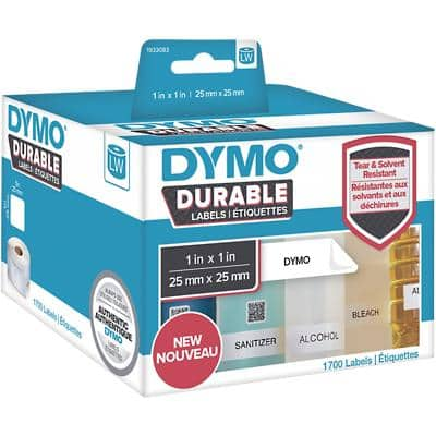DYMO LW 1933083 Durable Labels, Authentic, Self Adhesive, White, 25 mm x 25 mm, 1700 Labels