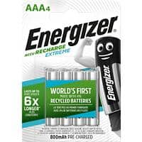 Energizer AAA Rechargeable Batteries Extreme HR03 800mAh NiMH 1.2V Pack of 4