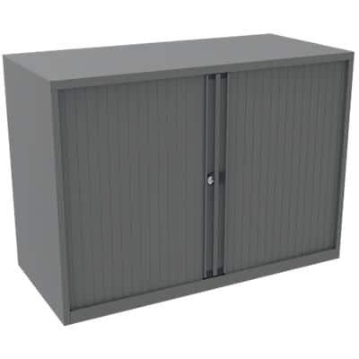 Bisley Desk High Tambour Cupboard Lockable with 1 Shelf Steel Essentials 1000 x 470 x 733mm Goose Grey
