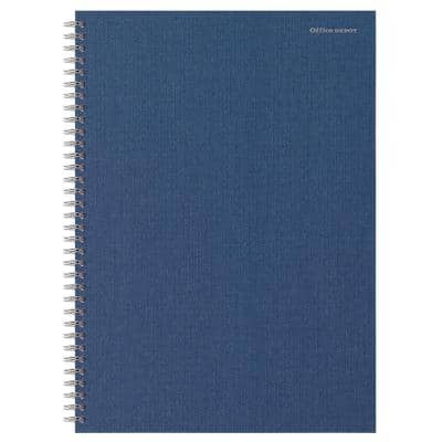 Office Depot A4 Wirebound Navy Blue Hardback Notebook Ruled Ruled 160 Pages