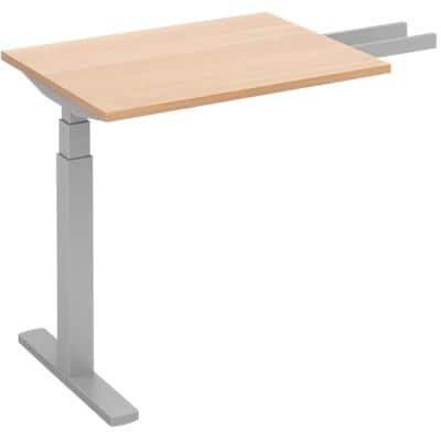Elev8² Sit Stand Return Desk with Beech Coloured Melamine Top and Silver Frame 1 Leg Touch 1600 x 800 x 675 - 1300 mm