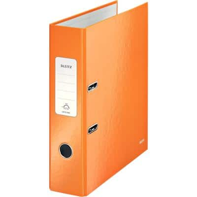 Leitz WOW 180° Lever Arch File 80 mm Cardboard 2 Rings A4 Orange
