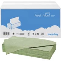 Niceday Hand Towels Green C-fold 1 Ply Paper 15 Sleeves of 192 Sheets