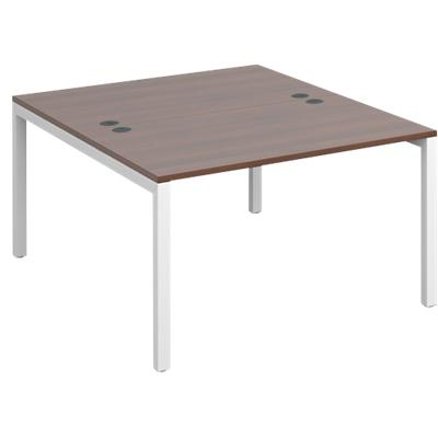 Dams International Rectangular Starter Unit Back to Back Desk with Walnut Melamine Top and White Frame 4 Legs Connex 1200 x 1600 x 725mm