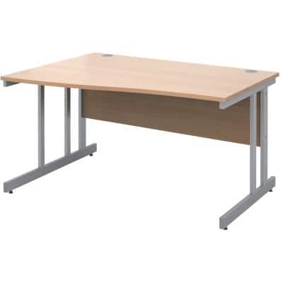 Freeform Left Hand Design Wave Desk with Beech Coloured MFC Top and Silver Frame Adjustable Legs Momento 1400 x 990 x 725 mm