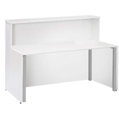 Dams International Rectangular Reception Desk with White Melamine Top and White Frame Adapt 1662 x 890 x 1125mm