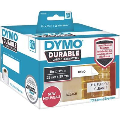 DYMO LW Durable Multipurpose Labels 1933081 Black on White Self Adhesive 25 mm x 89 mm 350 Labels