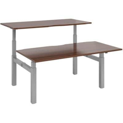 Elev8² Rectangular Sit Stand Back to Back Desk with Walnut Melamine Top and Silver Frame 4 Legs Touch 1600 x 1650 x 675 - 1300 mm