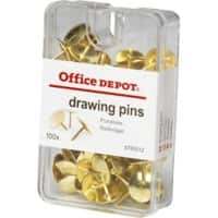 Office Depot Drawing Pins Brown 10.5mm Pack of 100