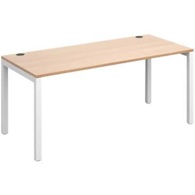 Rectangular Straight Single Desk with Beech Coloured Melamine & Steel Top and White Frame 4 Legs Connex 1600 x 800 x 725 mm