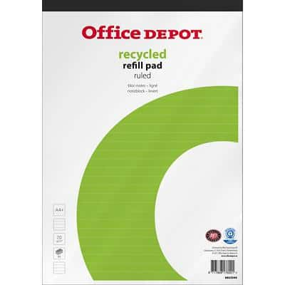 Office Depot A4+ Top Bound White Paper Cover Refill Pad Ruled Micro Perforated Recycled 160 Pages Pack of 5