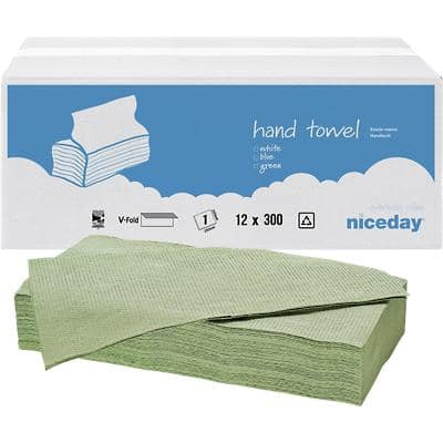 Niceday Hand Towels Standard 1 Ply V-fold Green 12 Pieces of 300 Sheets