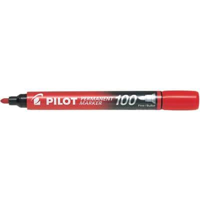 Pilot 100 Permanent Marker Fine Bullet Red Pack of 12