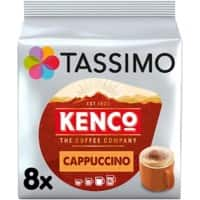 TASSIMO Cappuccino Coffee Pods Pack of 8 + 8 Concentrated Milk Cups