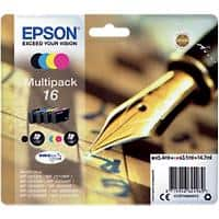 Epson 16 Original Ink Cartridge C13T16264012 Black & 3 Colours 4 Pieces