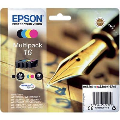 Epson 16 Original Ink Cartridge C13T16264012 Black & 3 Colours Pack of 4