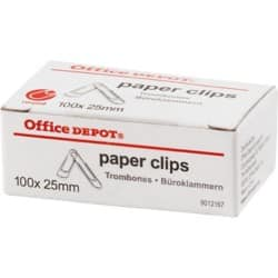 Office Depot Paper Clips Round Silver 100 pieces