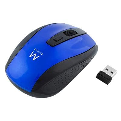 ewent Wireless Mouse EW3238 Optical For Right and Left-Handed Users USB-A Nano Receiver Blue