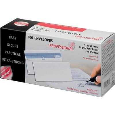 PROFESSIONAL DL Envelopes 225 x 112 mm Gummed Plain 90gsm White Pack of 100