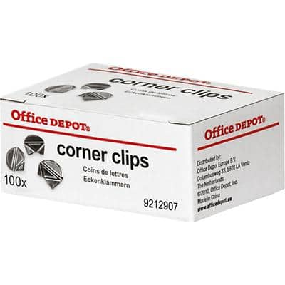 Office Depot Corner Clips 17mm Silver Pack of 100