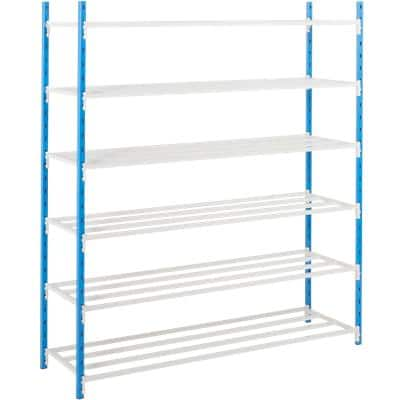 ARNO SPACE Starting Bay Shelving Unit with 6 Shelves 750 x 1000 x 1750mm Blue, Grey
