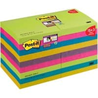 Post-it Super Sticky Notes 76 x 76 mm Assorted Colours Value Pack 90 Sheets 15 + 3 Free