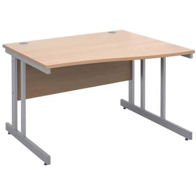 Freeform Right Hand Design Wave Desk with Beech Coloured MFC Top and Silver Frame Adjustable Legs Momento 1200 x 990 x 725 mm