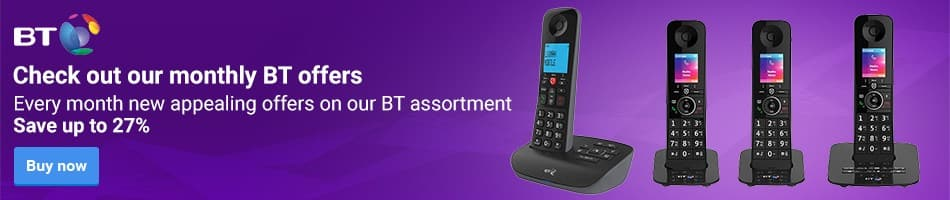 Check out our monthly BT offers. Every month new appealing offers on our BT assortment. From 37.49 for only 28.99 EACH