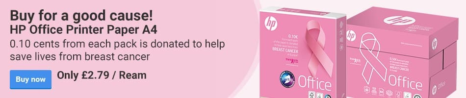 Buy for a good cause! HP Office Printer Paper A4.	0.10 cents from each pack is donated to help save lives from breast cancer.	Only £2.79 / Ream