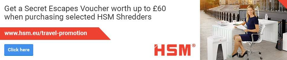 Get a Secret Escapes Voucher worth up to £60 when purchasing selected HSM Shredders