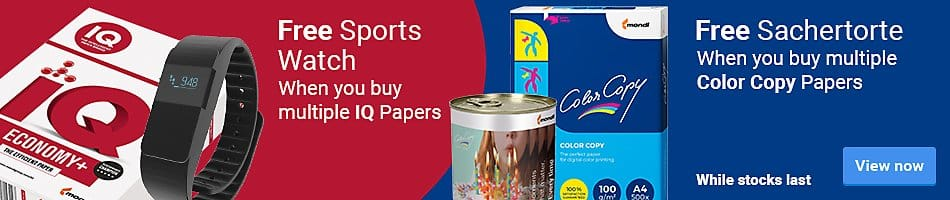 Free Sports Watch when you buy multiple IQ Papers - Free Sachertorte when you buy multiple Color Copy Papers