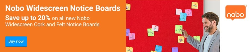 Nobo Widescreen Notice Boards. Save up to 20% on all new Nobo Widescreen Cork and Felt Notice Boards